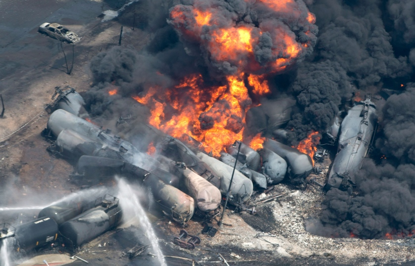 Shale oil exploding tank cars and burning