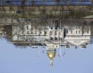 Upsidedown NJ capitol building