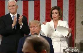 Pelosi ripping speech up